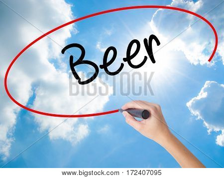 Woman Hand Writing Beer With Black Marker On Visual Screen