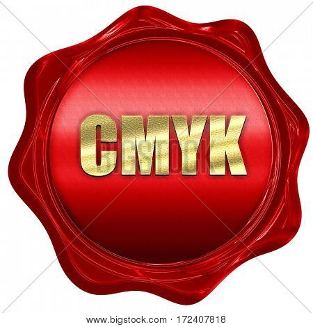 cmyk, 3D rendering, red wax stamp with text