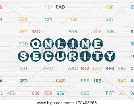 Security concept: Painted blue text Online Security on White Brick wall background with Hexadecimal Code