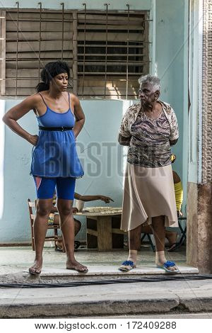 La Havana Cuba - December 26 2016: Cuban portrait series old and middleaged woman on street