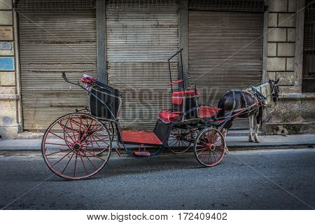 La Havana Cuba - December 26 2016: Ancient carriage on street with horse retro style picture