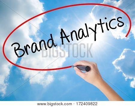 Woman Hand Writing Brand Analytics With Black Marker On Visual Screen