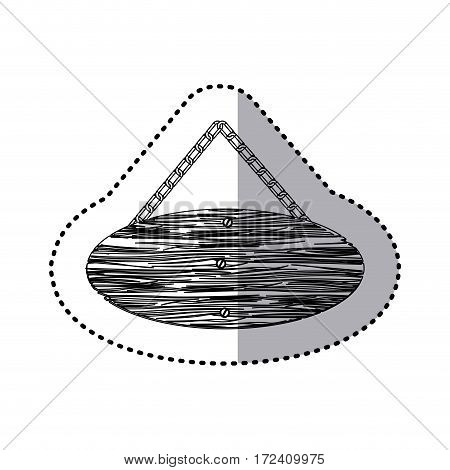sticker monochrome piece circular wooden sign board with chains vector illustration