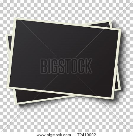 Two realistic vector retro photo frames with straight edges placed one over another and slightly tilted on transparent checkered background. Template photo design.