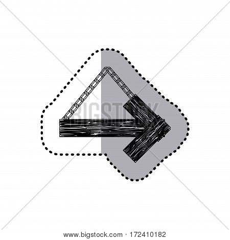 sticker monochrome arrow right shape wooden sign board with chains vector illustration