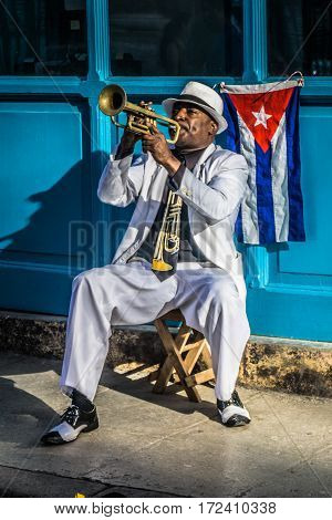 La Havana Cuba - December 26 2016: cuban portrait series Trumpet player on street