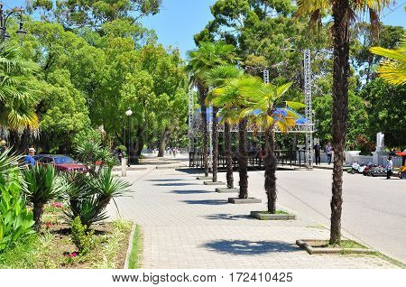 the promenade in Sukhumi 2016 hot sunny