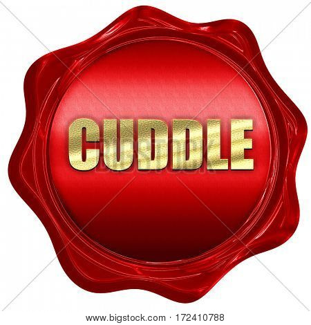 cuddle, 3D rendering, red wax stamp with text