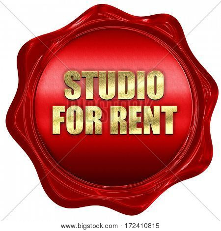 studio for rent, 3D rendering, red wax stamp with text