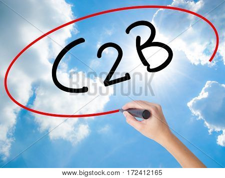 Woman Hand Writing C2B With Black Marker On Visual Screen