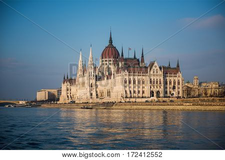 Parliament Building in Budapest against the blue sky