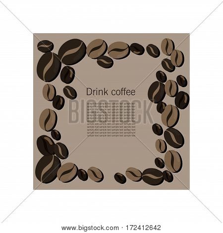 Dark vector card with coffee beans for caffee