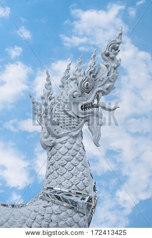 Closeup to Thai Naga or Dragon in Heaven/ Sky Background