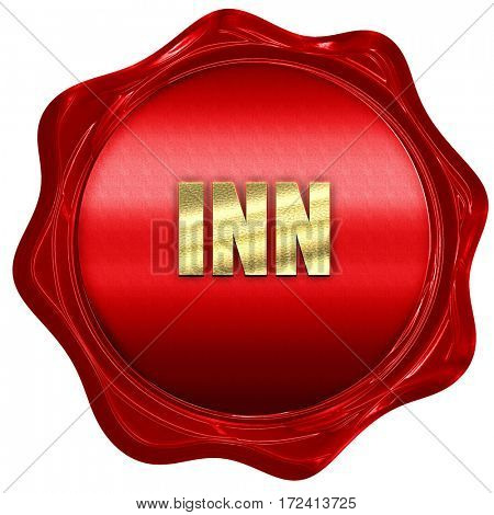 Inn, 3D rendering, red wax stamp with text
