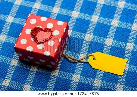 Beautiful Present Box With Shopping Yellow Tag