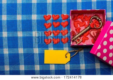 Set Of Valentines Love Heart Symbol, Present Box With Key