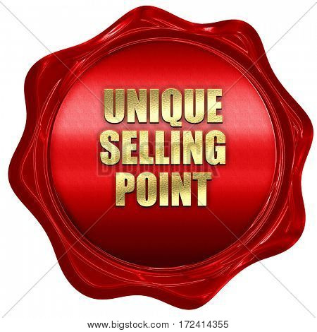 unique selling point, 3D rendering, red wax stamp with text