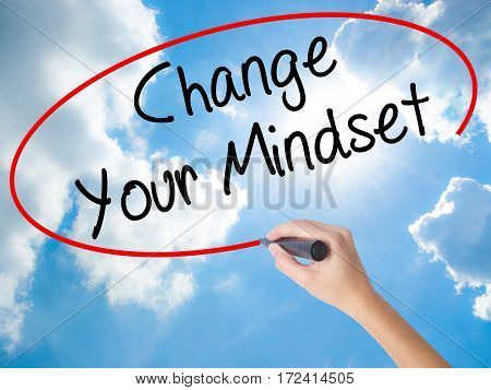 Woman Hand Writing Change Your Mindset With Black Marker On Visual Screen.