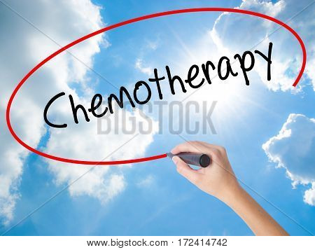 Woman Hand Writing Chemotherapy With Black Marker On Visual Screen