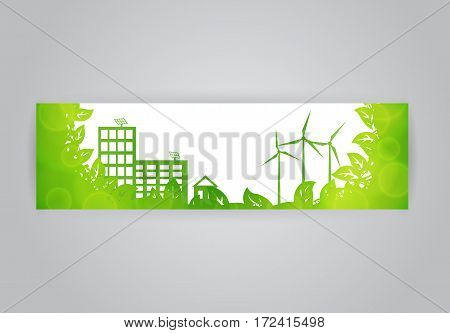 Vector ecologic horizontal banner with eco town landscape with wind rurbines and solar energy panels in frame of green leaves on white background