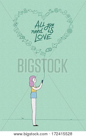 Social Media Love Concept Design Of Girl On Phone