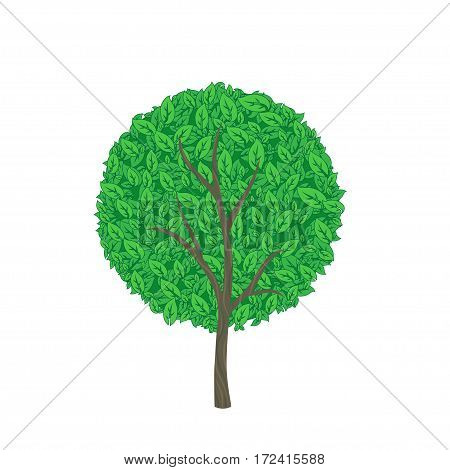 Vector illustration of green circle tree on white background
