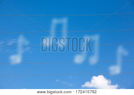 notes on blue sky background in sunny weather
