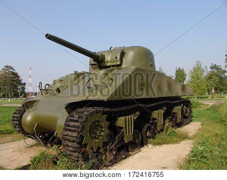 Russia. Snegiri city.Battle tanks and anti tank gun museum. Sherman tank