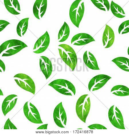 Vector seamless pattern of watercolor painted green tree leaves