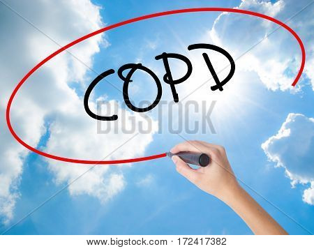 Woman Hand Writing Copd With Black Marker On Visual Screen