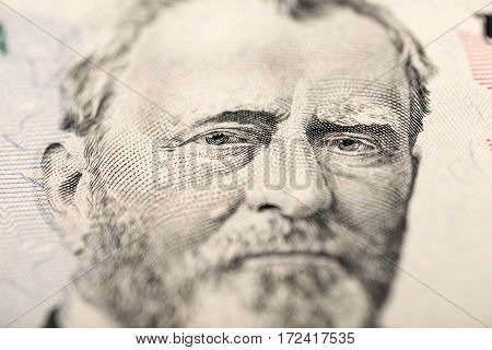 Fifty dollars Dollars Macro high quality and high resolution studio shoot