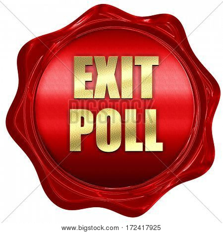exit poll, 3D rendering, red wax stamp with text