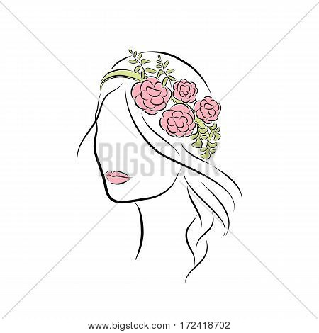 Close up portrait. Beautiful young girl with a flower headband. Bright lips painted on her face. Vector fashion sketch in hand drawing style for your design. EPS10 format.