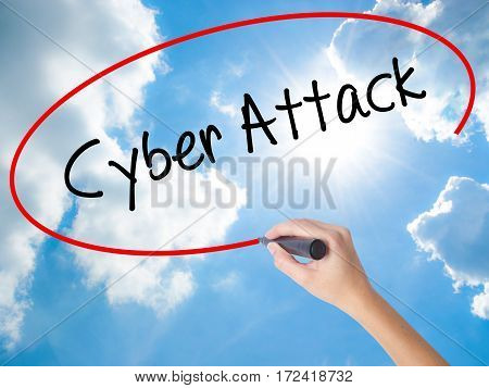 Woman Hand Writing Cyber Attack With Black Marker On Visual Screen