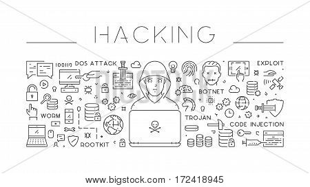 Linear isolated web banner of hacking. Modern line background.