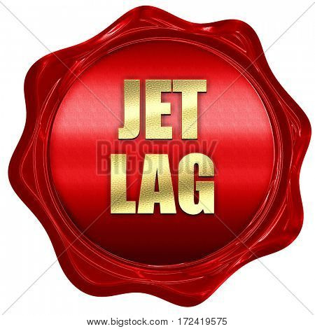 Jet lag, 3D rendering, red wax stamp with text