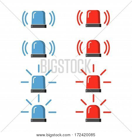 Police flasher, siren vector set. Red and blue sirens, flashers ambulances. Icons for alarm or emergency cases. Collection of alert flashing lights in a flat style.