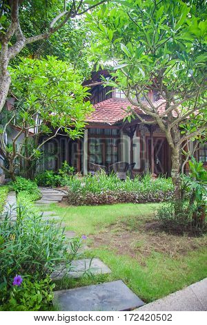 Bali luxury villa tropical paths in jungle