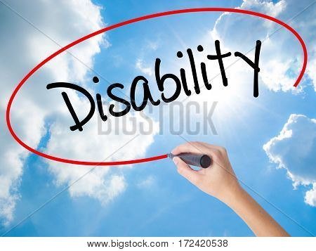 Woman Hand Writing Disability With Black Marker On Visual Screen