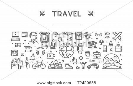 Line web banner for travel and tourism. Modern linear concept for adventure and journey.