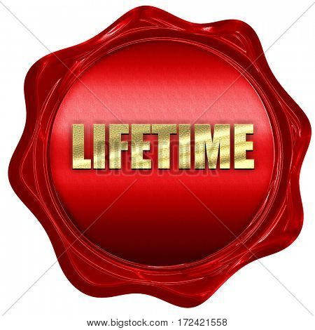 lifetime, 3D rendering, red wax stamp with text
