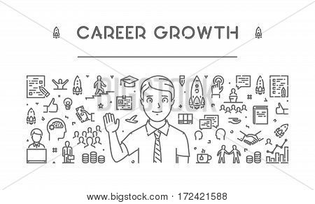 Line web banner for career growth. Modern linear concept for career success.