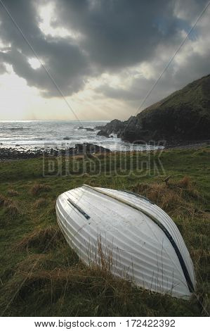 Upturned Boat by shore in Coastal Aberdeenshire (Newtonhill)