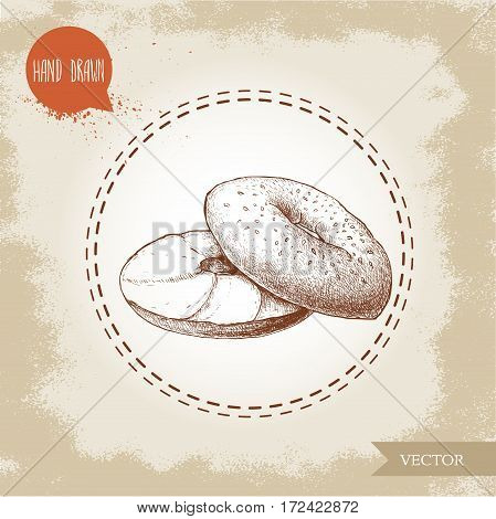 Hand drawn sketch style sesame bagel with cream cheese. Daily fresh bakery illustration. Vintage drawing of fresh breakfast.