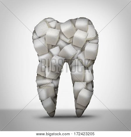 Teeth sugar dentist symbol and dentistry concept as a molar tooth made of cubes of refined white candy sweetness as an oral care problem of decay and cavity danger with 3D illustration elements.