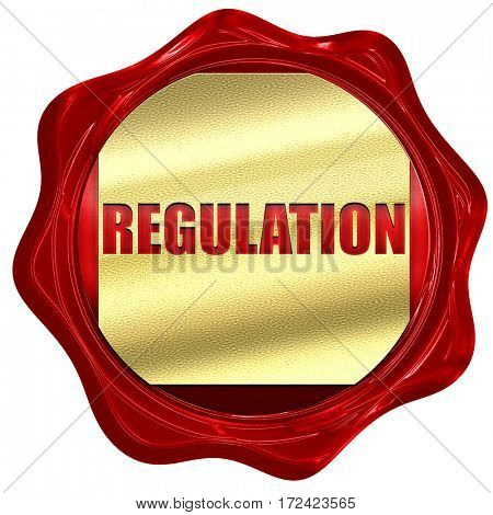 regulation, 3D rendering, red wax stamp with text