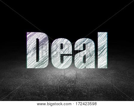 Business concept: Glowing text Deal in grunge dark room with Dirty Floor, black background