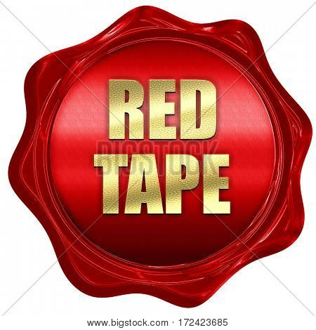red tape, 3D rendering, red wax stamp with text