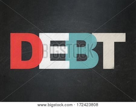 Finance concept: Painted multicolor text Debt on School board background, School Board