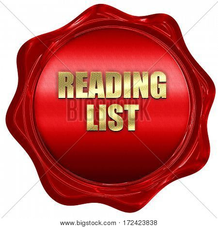 reading list, 3D rendering, red wax stamp with text